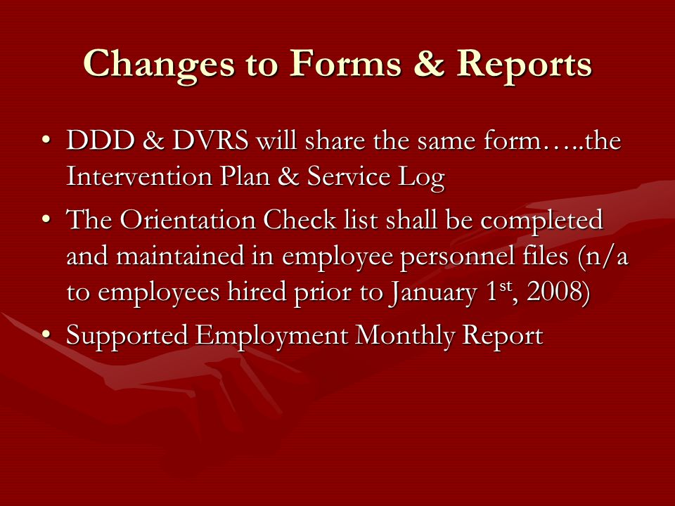 Changes to Forms & Reports