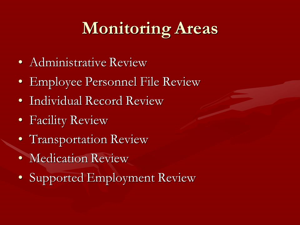 Monitoring Areas Administrative Review Employee Personnel File Review