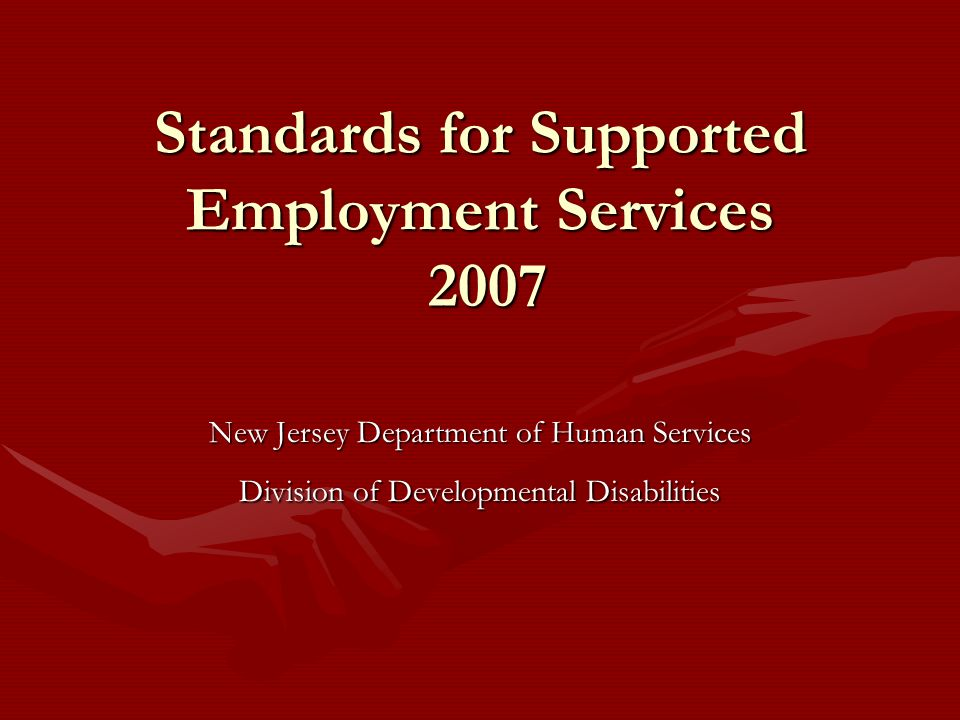 Standards for Supported Employment Services 2007