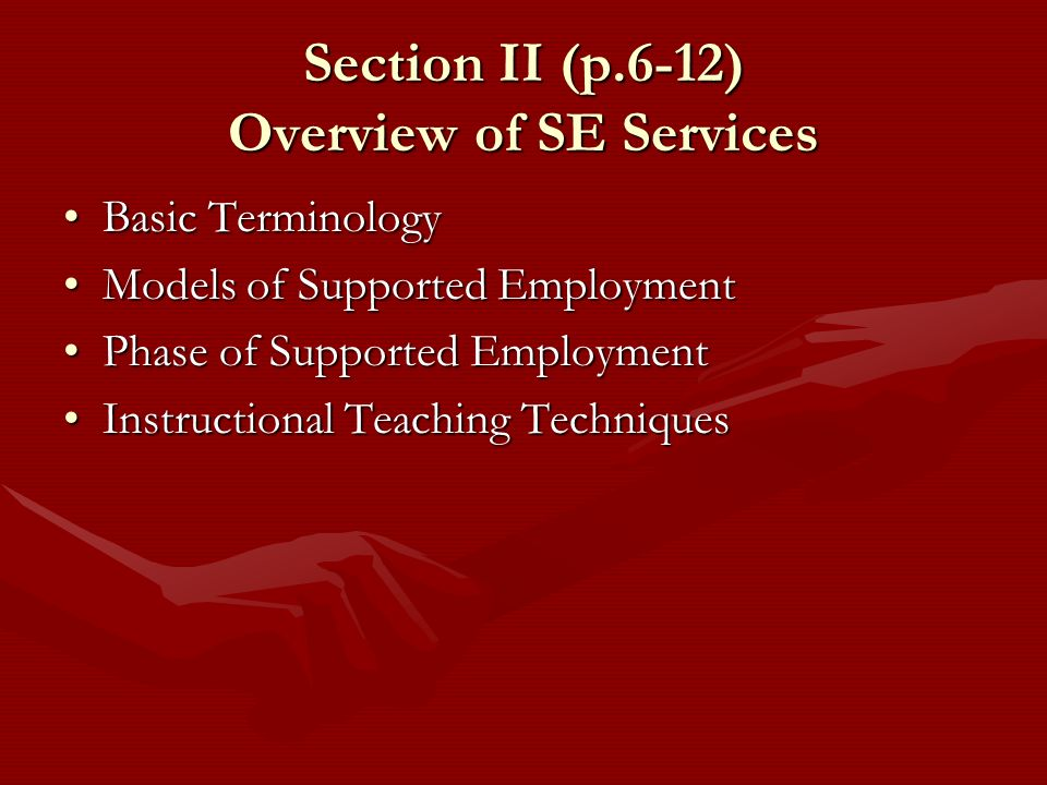 Section II (p.6-12) Overview of SE Services