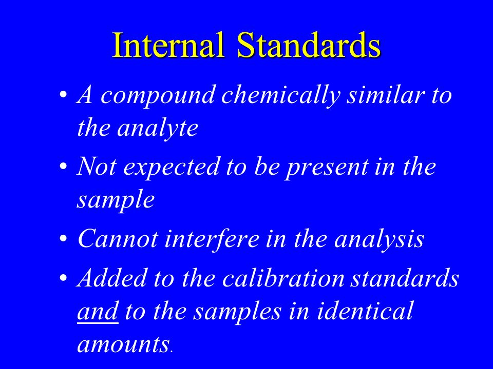 Internal Standards A compound chemically similar to the analyte