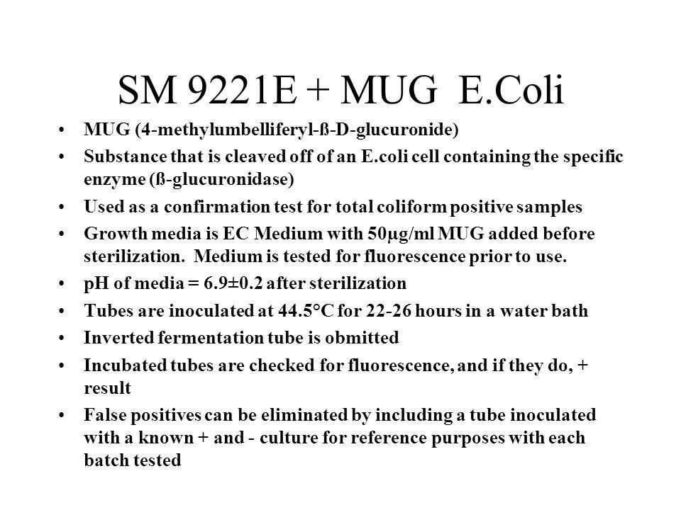 SM 9221E + MUG E.Coli MUG (4-methylumbelliferyl-ß-D-glucuronide)
