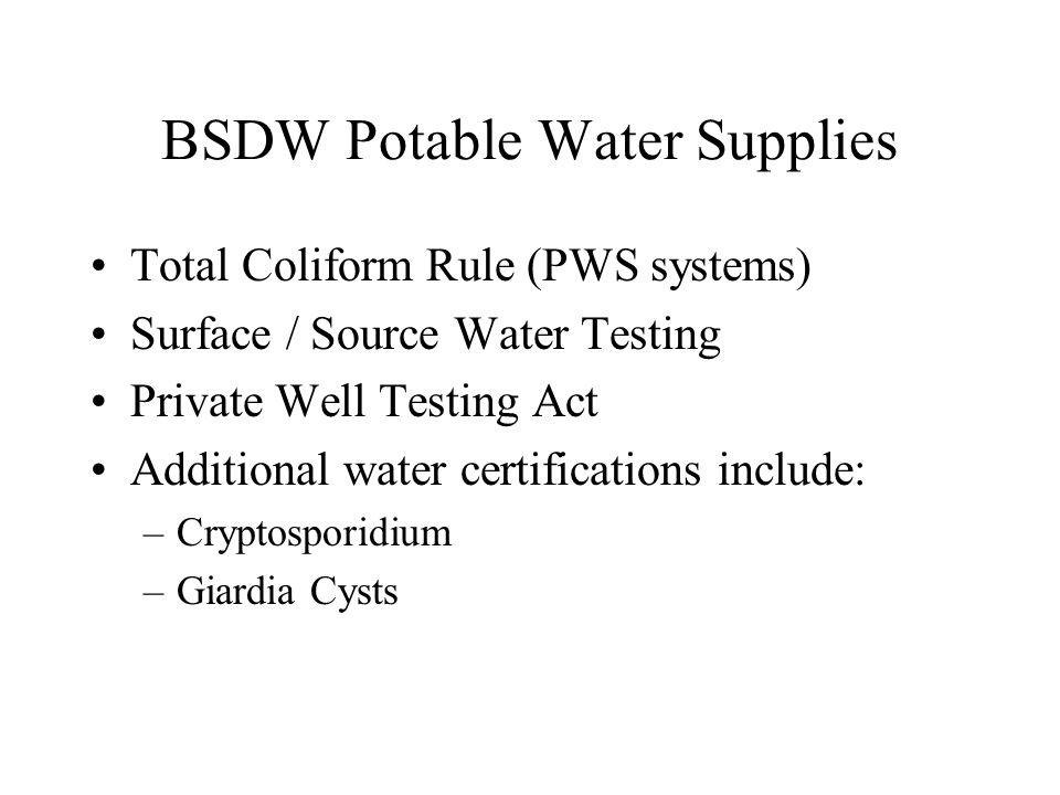 BSDW Potable Water Supplies