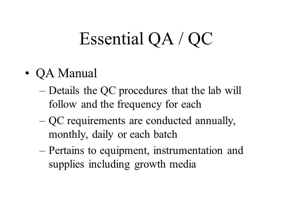 Essential QA / QC QA Manual