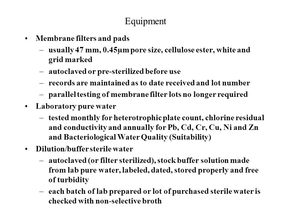 Equipment Membrane filters and pads