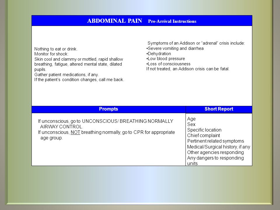ABDOMINAL PAIN Pre-Arrival Instructions