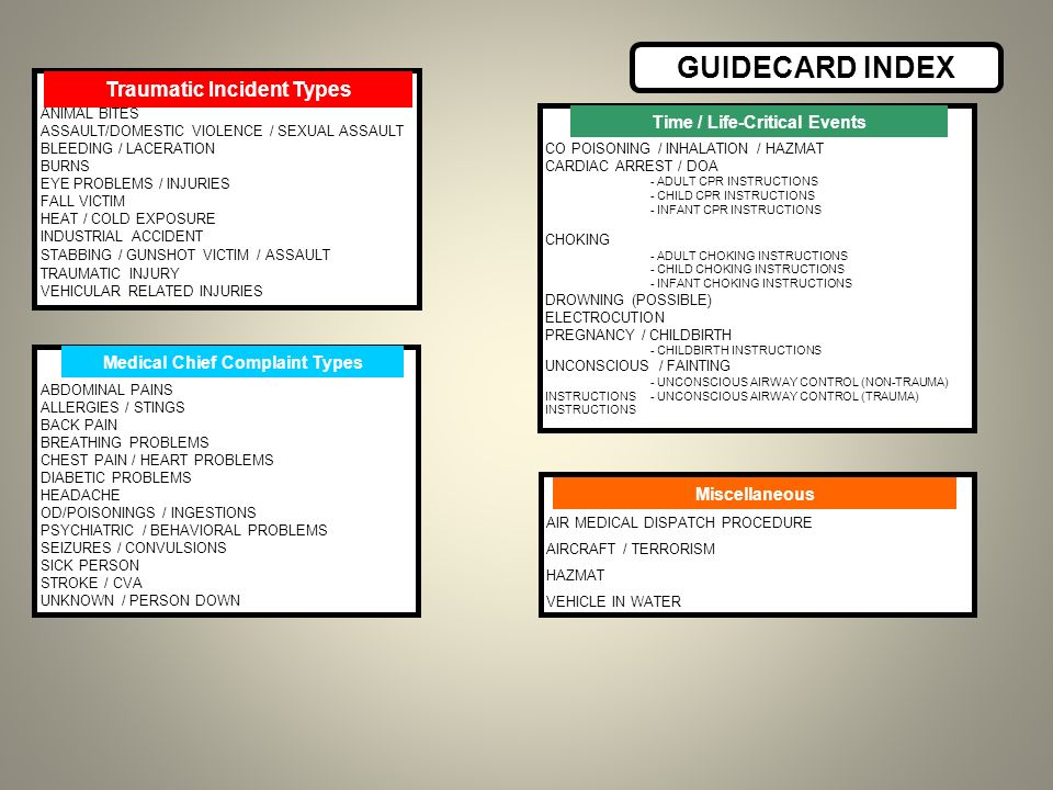 GUIDECARD INDEX Traumatic Incident Types Time / Life-Critical Events
