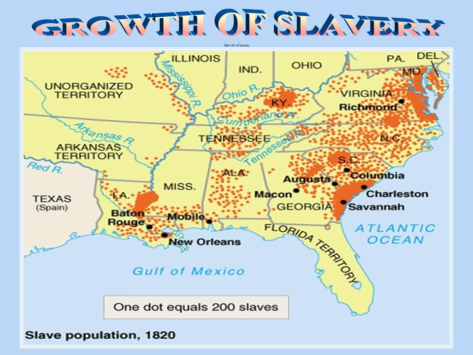 GROWTH OF SLAVERY Growth of slavery