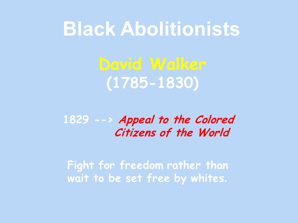 Black Abolitionists David Walker ( )
