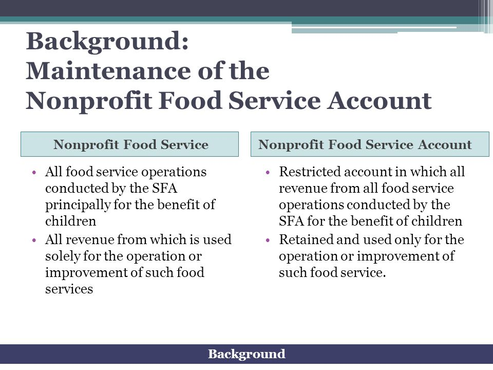 Background: Maintenance of the Nonprofit Food Service Account
