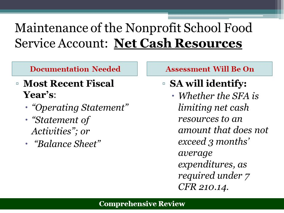 Maintenance of the Nonprofit School Food Service Account: Net Cash Resources