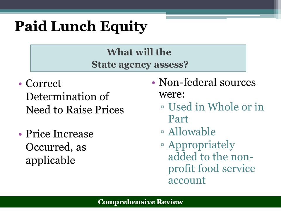 Paid Lunch Equity Correct Determination of Need to Raise Prices