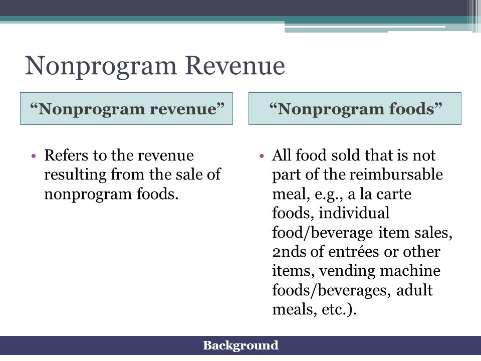 Nonprogram Revenue Nonprogram revenue Nonprogram foods