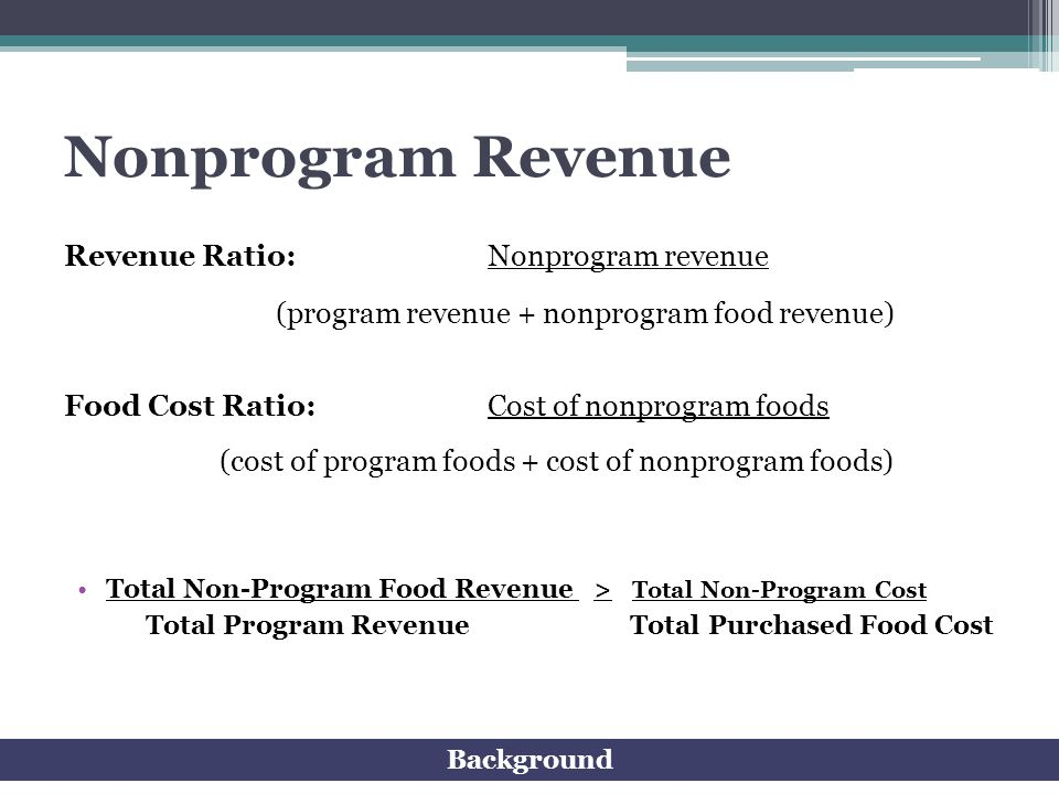 Nonprogram Revenue Revenue Ratio: Nonprogram revenue