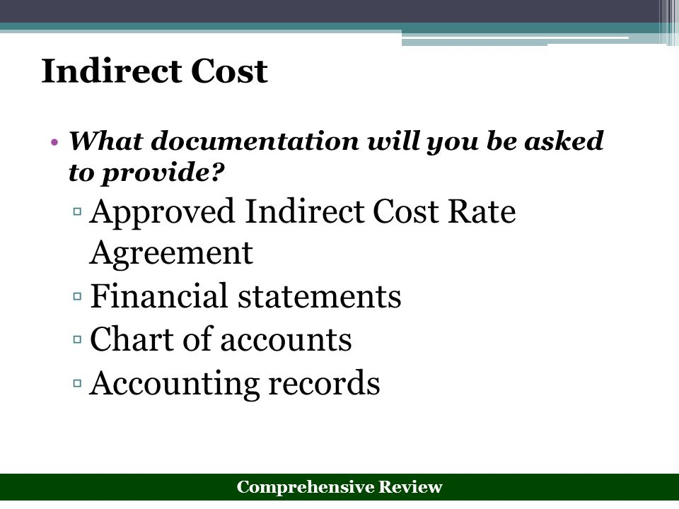 Approved Indirect Cost Rate Agreement Financial statements