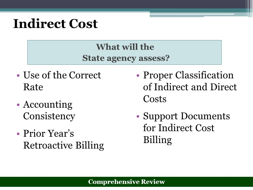 Indirect Cost Use of the Correct Rate Accounting Consistency