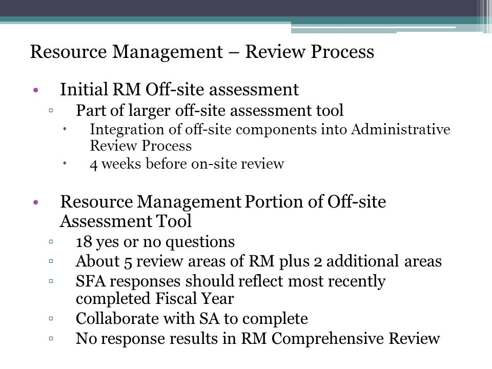 Resource Management – Review Process