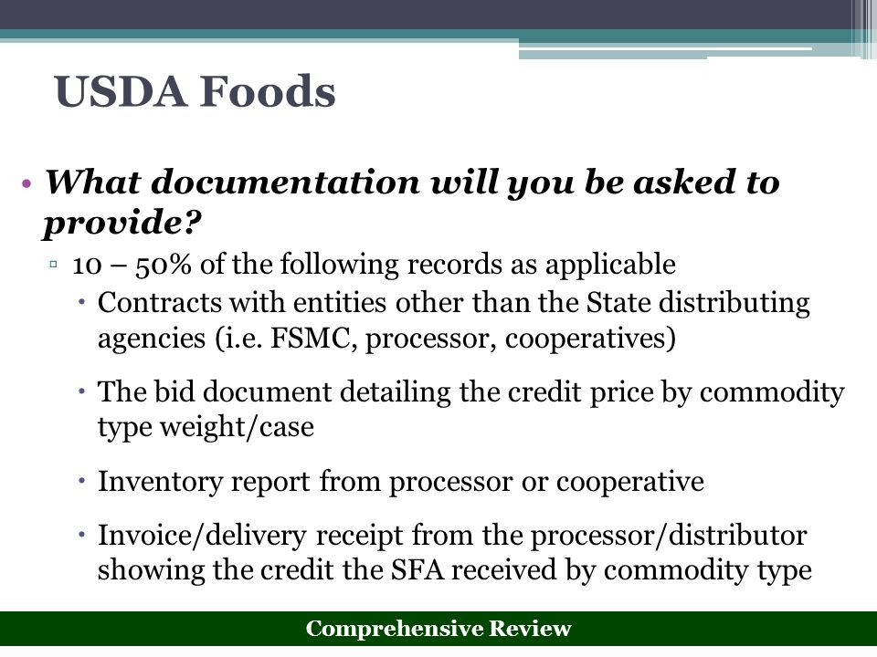 USDA Foods What documentation will you be asked to provide