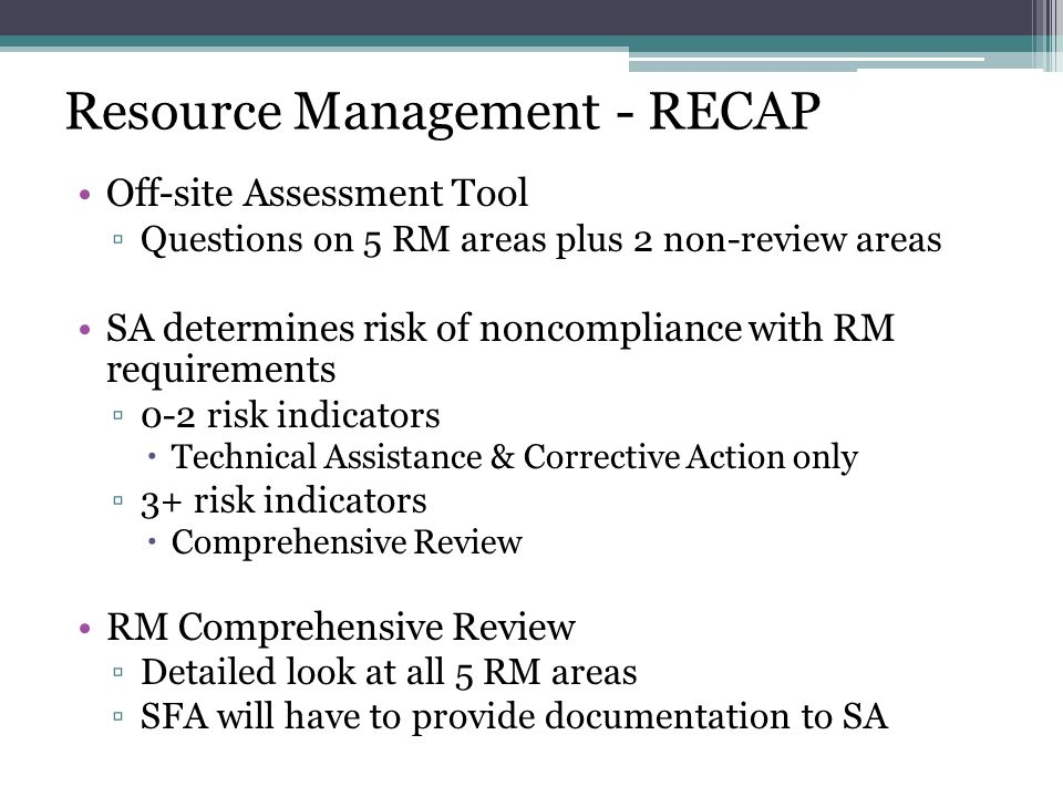 Resource Management - RECAP