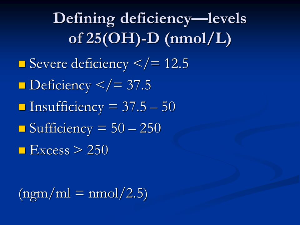 Defining deficiency—levels of 25(OH)-D (nmol/L)