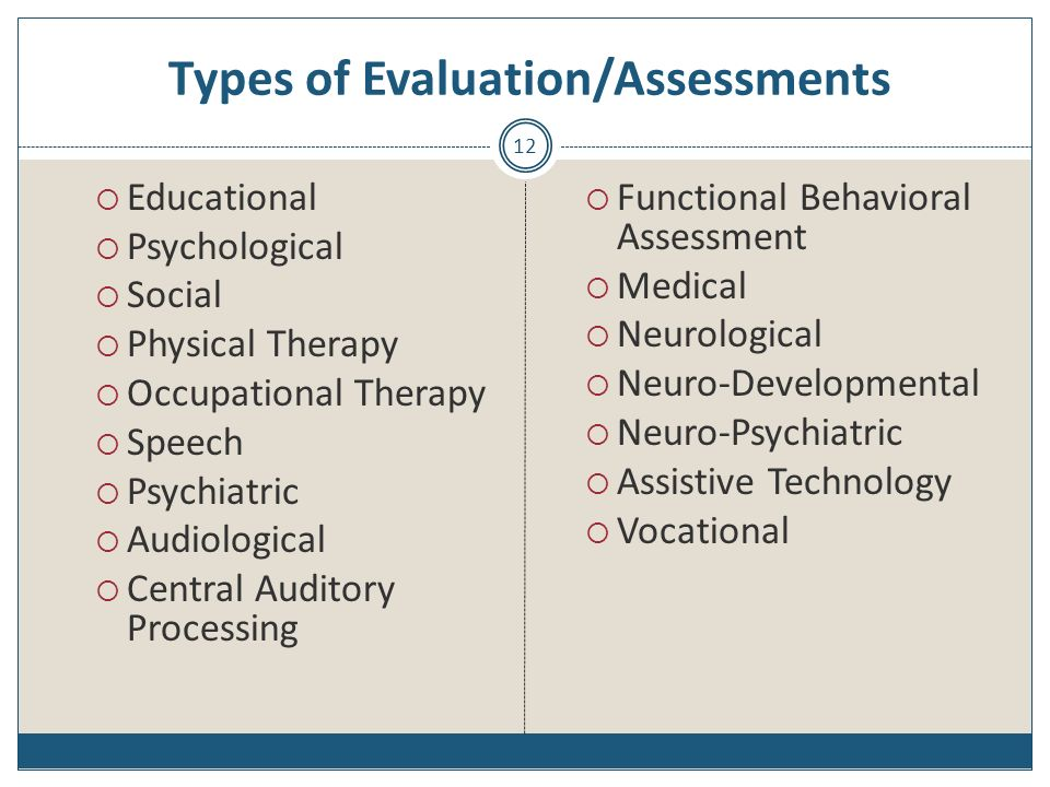 Types of Evaluation/Assessments