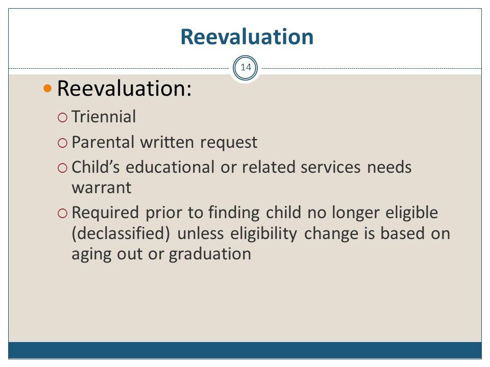 Reevaluation Reevaluation: Triennial Parental written request