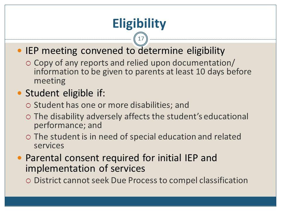 Eligibility IEP meeting convened to determine eligibility