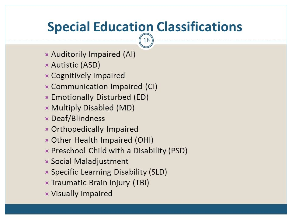 Special Education Classifications