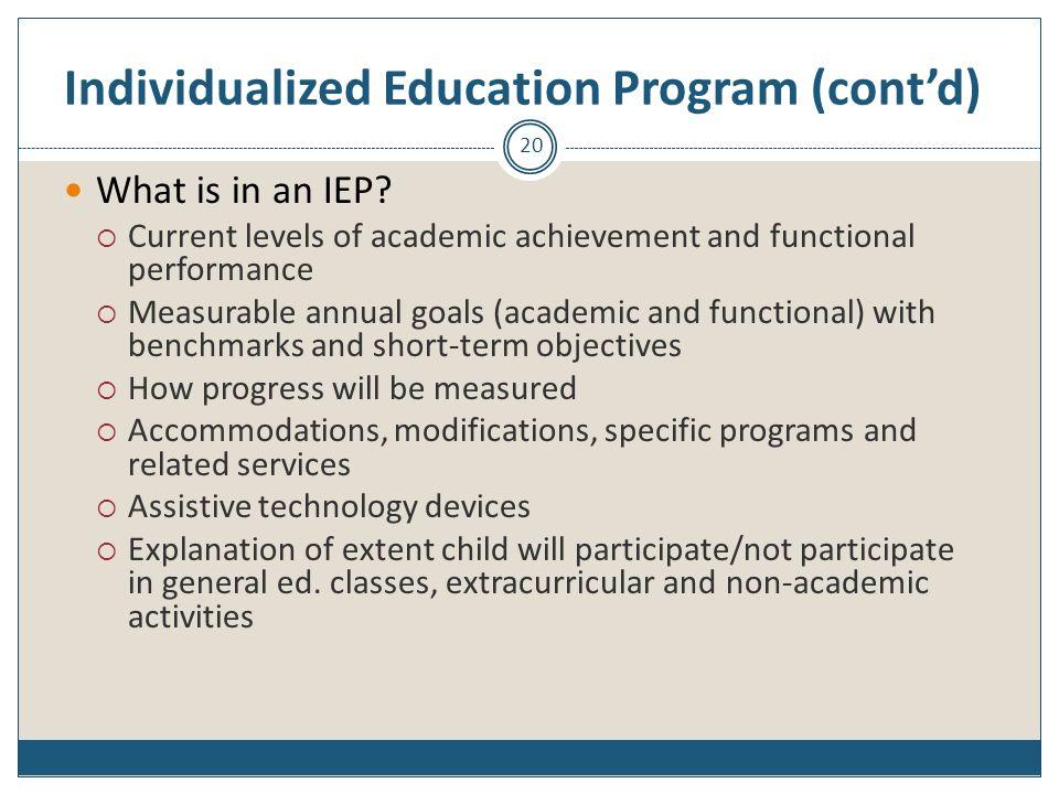 Individualized Education Program (cont'd)