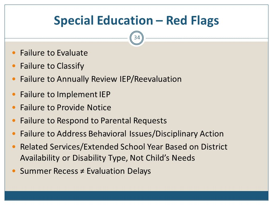 Special Education – Red Flags