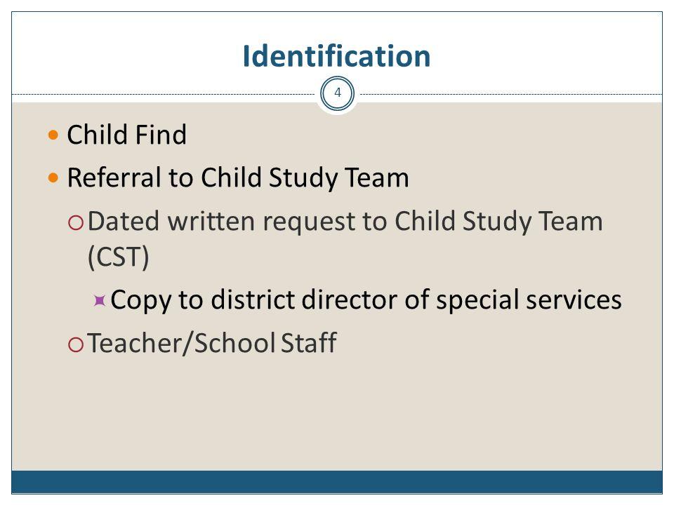 Identification Child Find Referral to Child Study Team