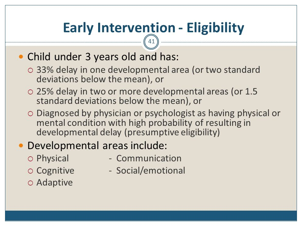 Early Intervention - Eligibility