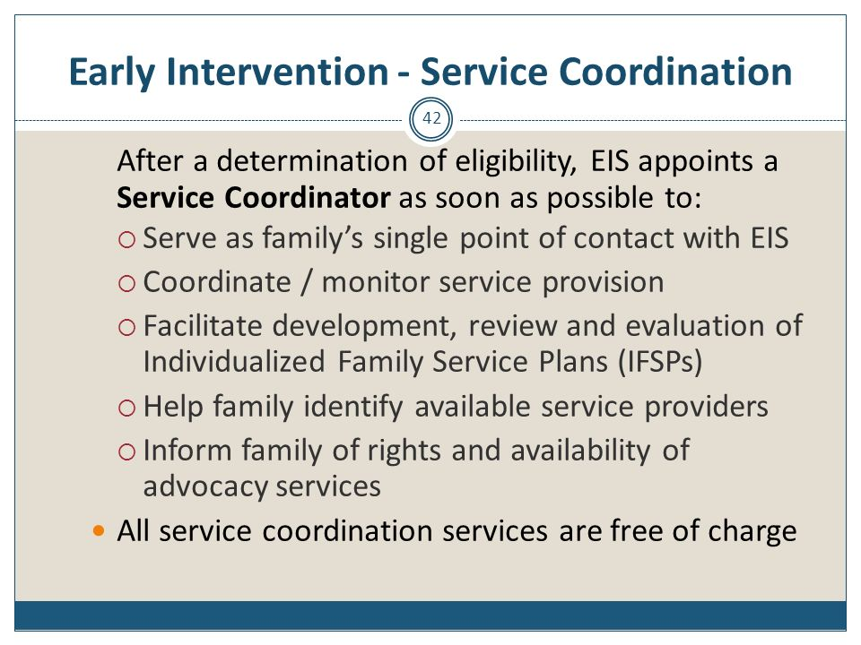 Early Intervention - Service Coordination