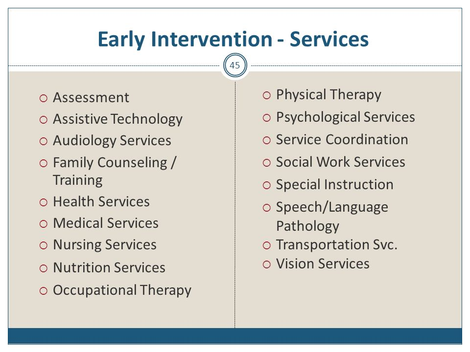 Early Intervention - Services