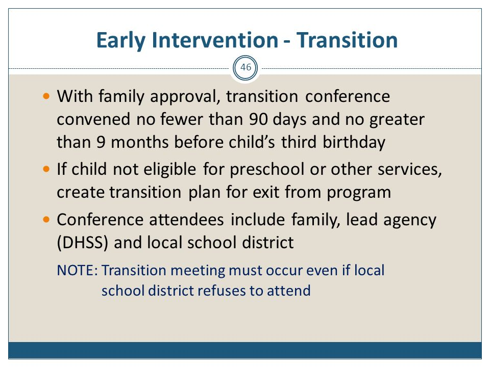 Early Intervention - Transition
