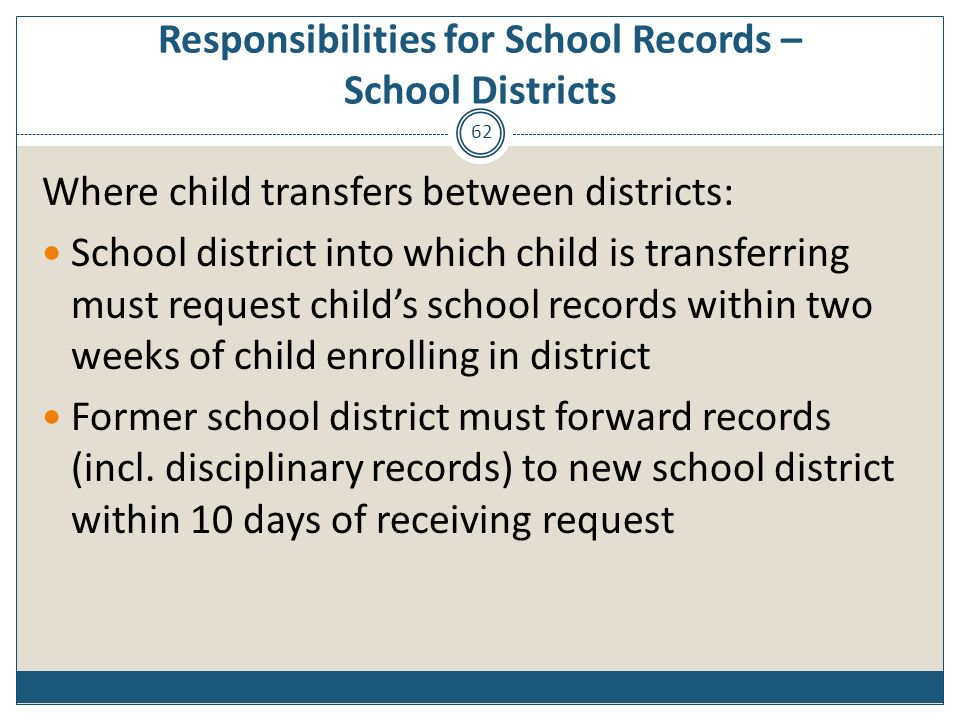 Responsibilities for School Records – School Districts