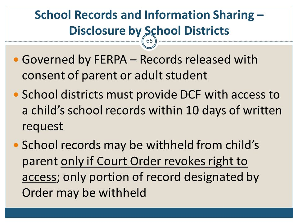 School Records and Information Sharing – Disclosure by School Districts