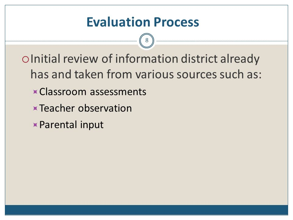 Evaluation Process Initial review of information district already has and taken from various sources such as: