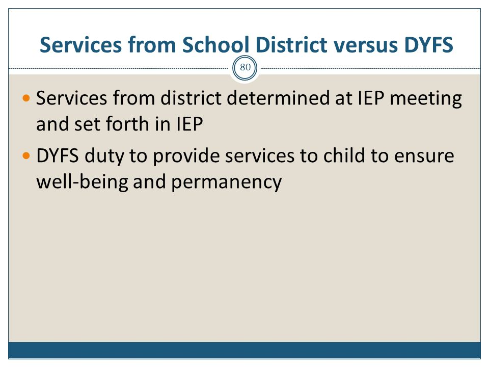Services from School District versus DYFS