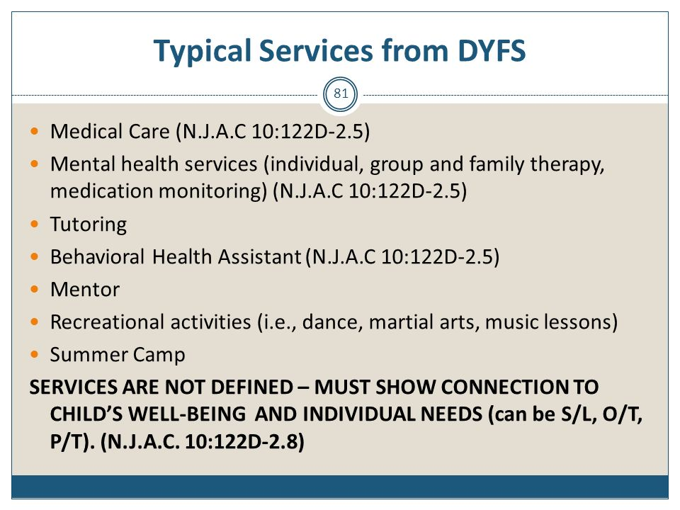 Typical Services from DYFS