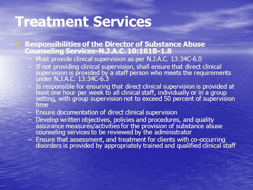 Treatment Services Responsibilities of the Director of Substance Abuse Counseling Services-N.J.A.C. 10:161B-1.8.