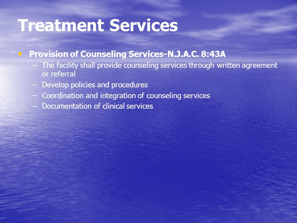 Treatment Services Provision of Counseling Services-N.J.A.C. 8:43A
