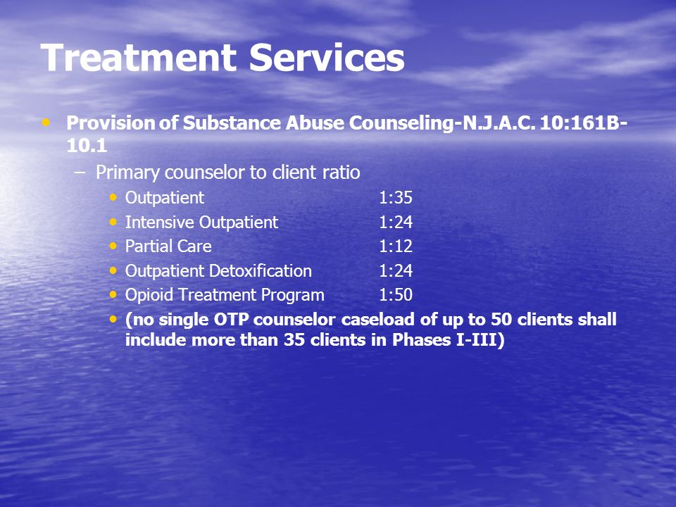 Treatment Services Provision of Substance Abuse Counseling-N.J.A.C. 10:161B-10.1. Primary counselor to client ratio.