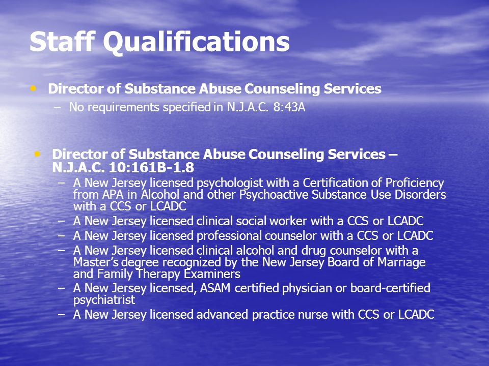 Staff Qualifications Director of Substance Abuse Counseling Services