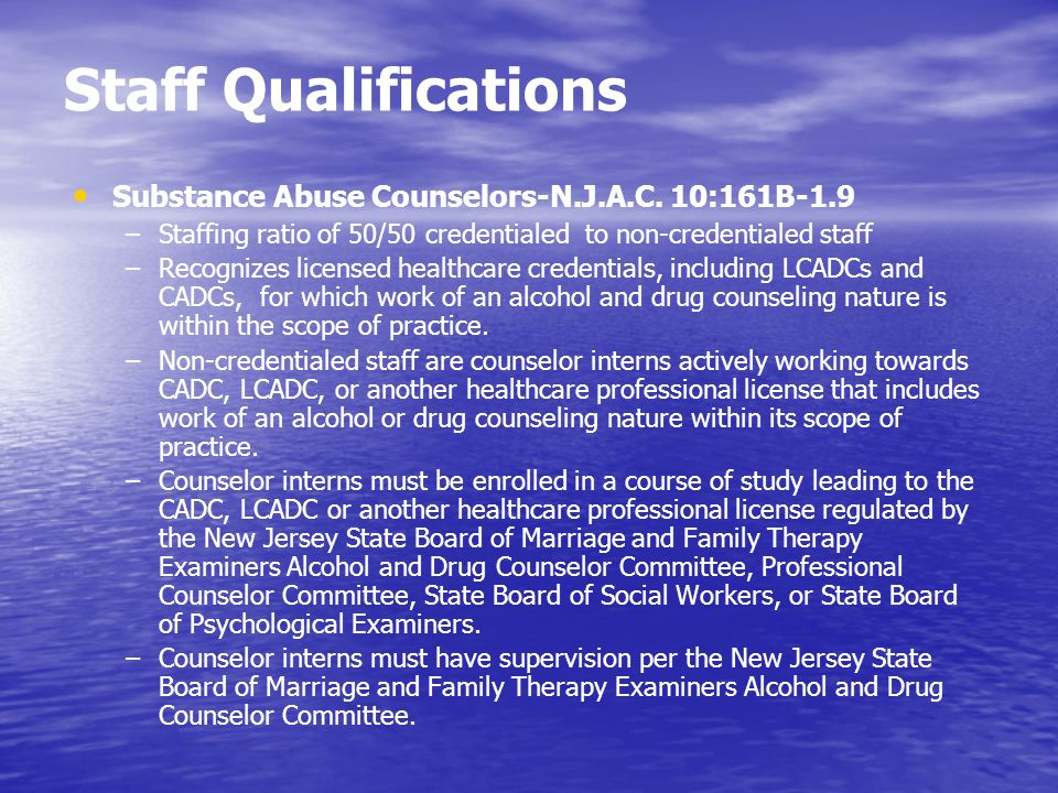 Staff Qualifications Substance Abuse Counselors-N.J.A.C. 10:161B-1.9