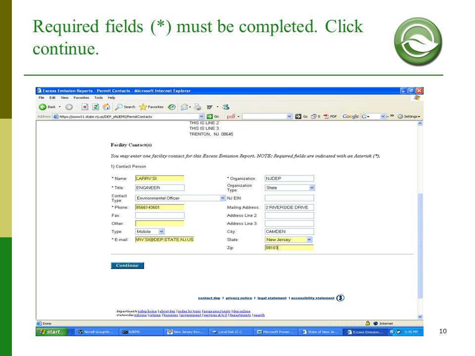 Required fields (*) must be completed. Click continue.