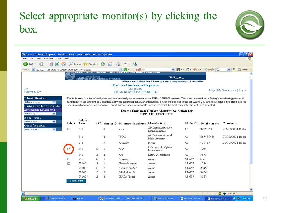 Select appropriate monitor(s) by clicking the box.