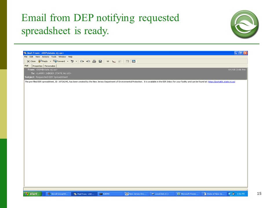 Email from DEP notifying requested spreadsheet is ready.
