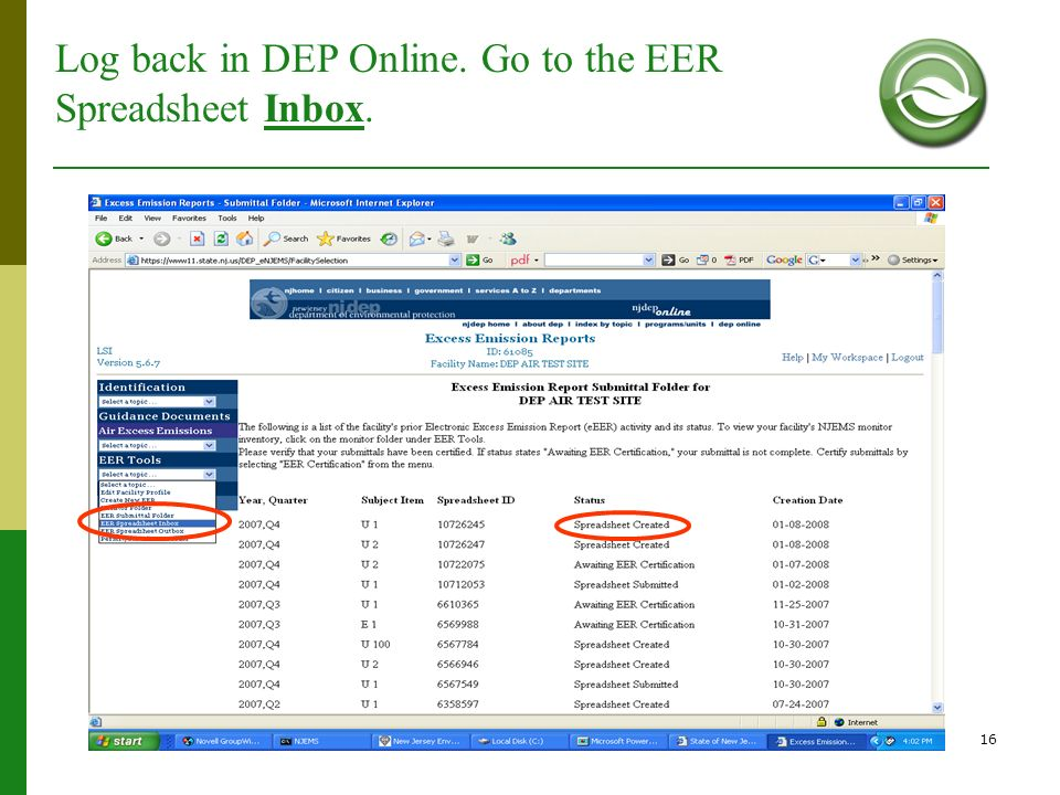 Log back in DEP Online. Go to the EER Spreadsheet Inbox.