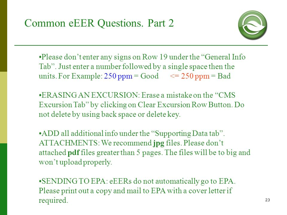 Common eEER Questions. Part 2
